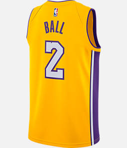 Men's Nike Los Angeles Lakers NBA Lonzo Ball Association Edition Connected Jersey