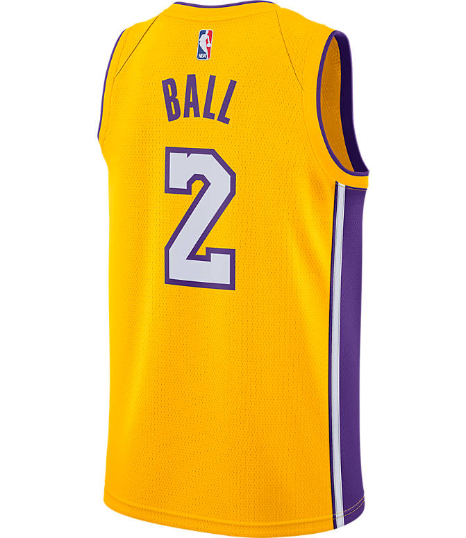 Front view of Men's Nike Los Angeles Lakers NBA Lonzo Ball Association Edition Connected Jersey in Amarillo