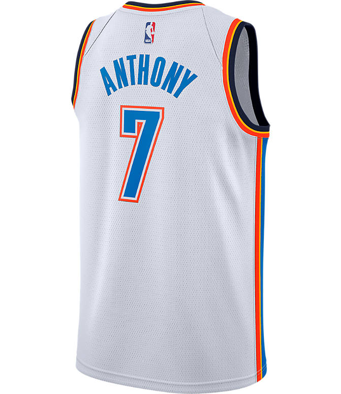 Front view of Men's Nike Oklahoma City Thunder NBA Carmelo Anthony Association Connected Jersey in White