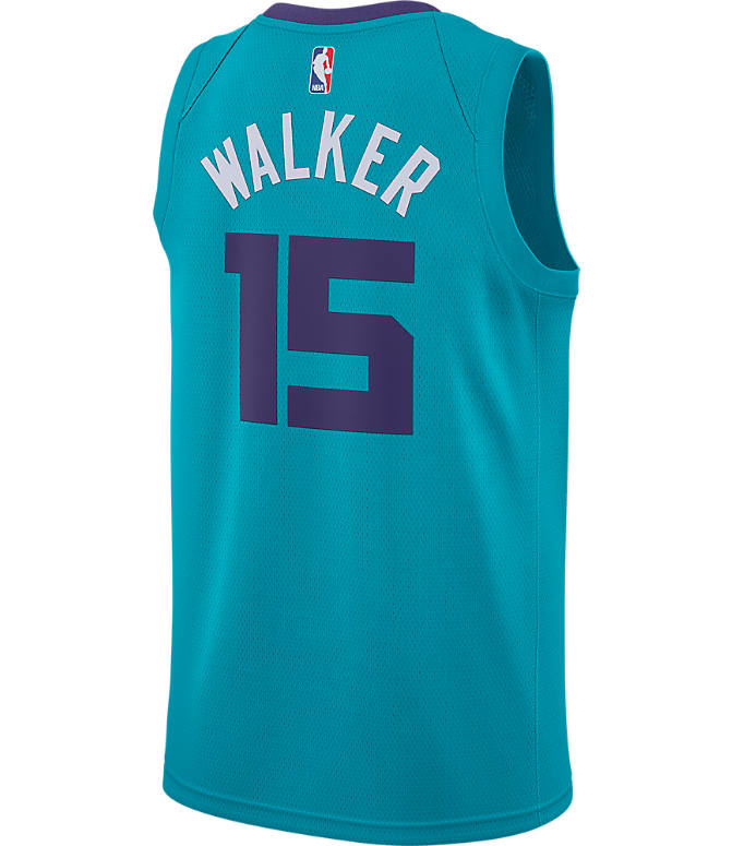 Front view of Men's Air Jordan Charlotte Hornets NBA Kemba Walker Icon Edition Connected Jersey in Rapid Teal/New Orchid