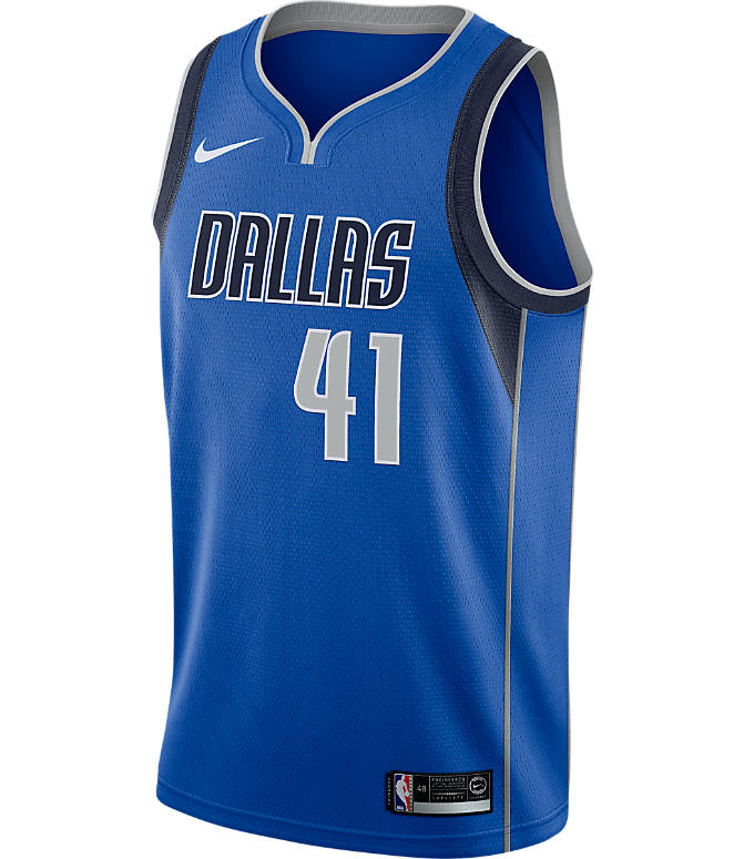 Back view of Men's Nike Dallas Mavericks NBA Dirk Nowitzki Icon Edition Connected Jersey in Game Royal/College Navy