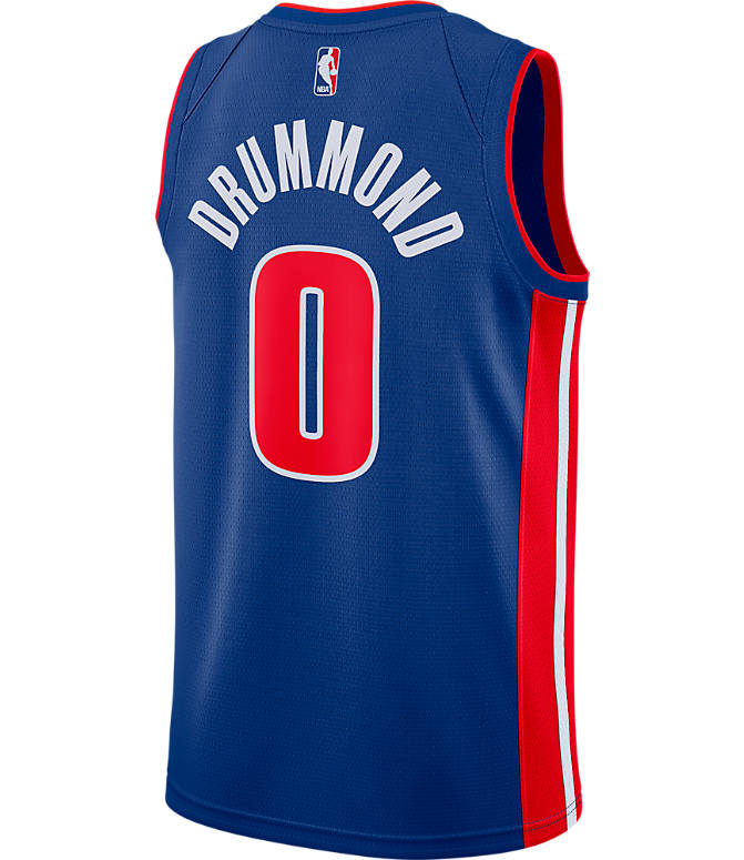 Front view of Men's Nike Detroit Pistons NBA Andre Drummond Icon Edition Connected Jersey in Rush Blue/University Red