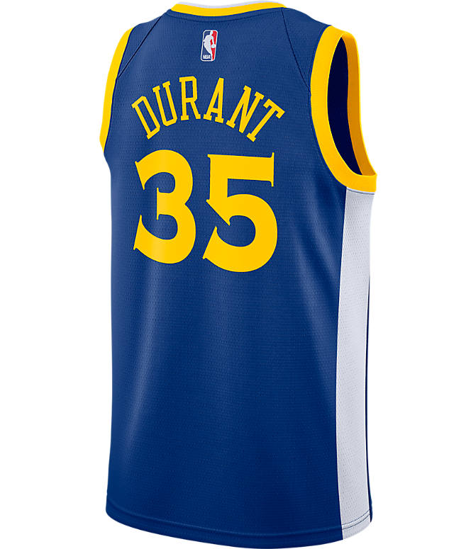 Front view of Men's Nike Golden State Warriors NBA Kevin Durant Icon Edition Connected Jersey in Rush Blue/White/Amarillo