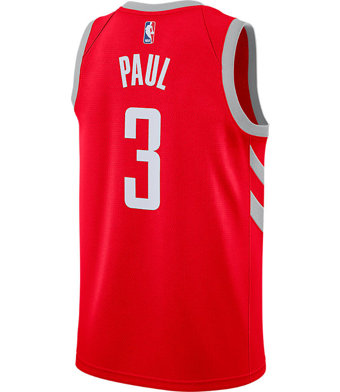 Front view of Men's Nike Houston Rockets NBA Chris Paul Icon Edition Connected Jersey in Red