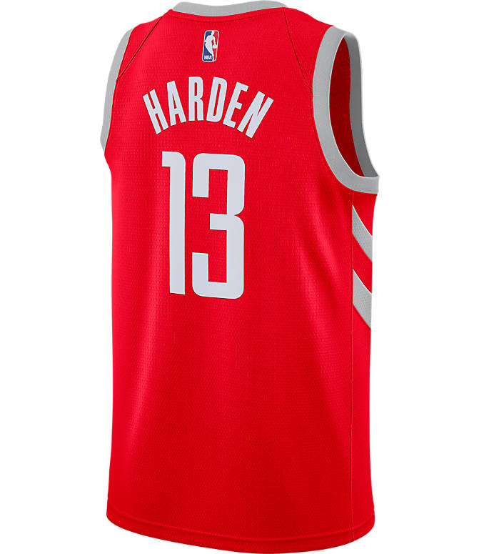 Front view of Men's Nike Houston Rockets NBA James Harden Icon Edition Connected Jersey in University Red/Silver