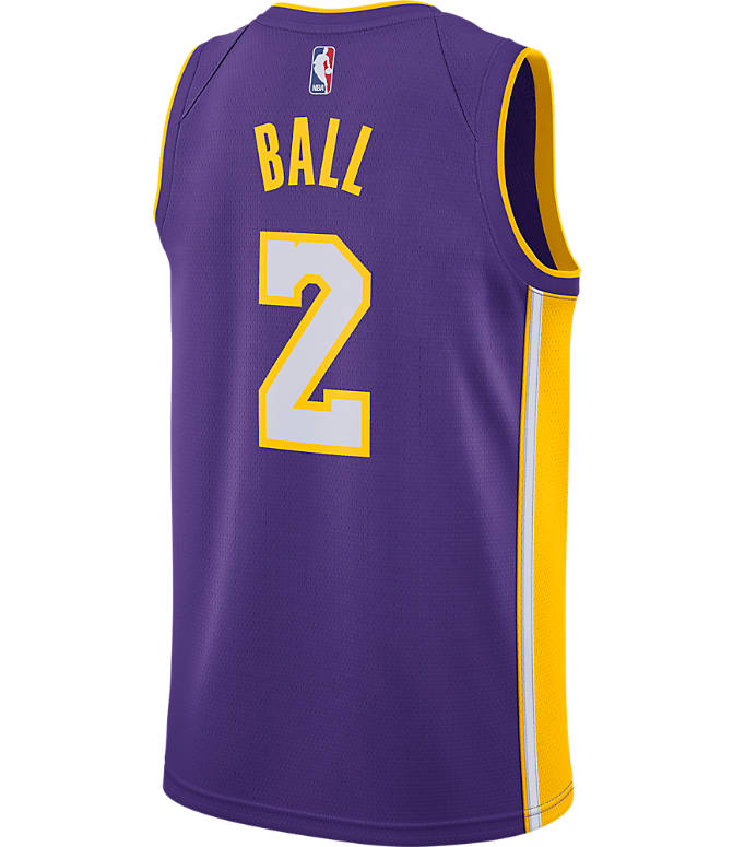 Front view of Men's Nike Los Angeles Lakers NBA Lonzo Ball Icon Edition Connected Jersey in Field Purple