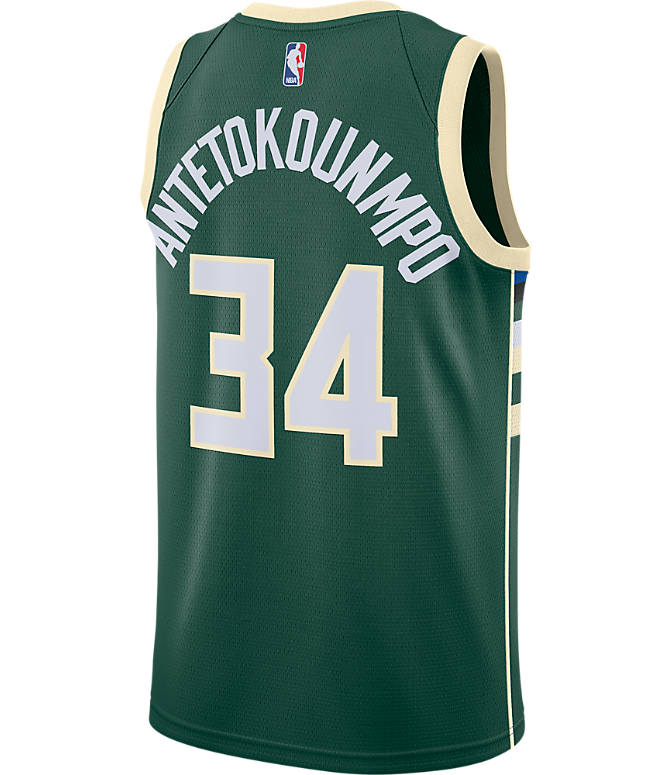 Front view of Men's Nike Milwaukee Bucks NBA Giannis Antetokounmpo Icon Edition Connected Jersey in Fir/Flat Opal