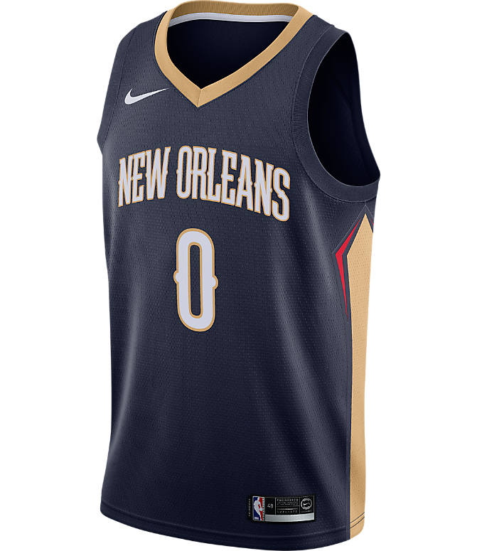 Back view of Men's Nike New Orleans Pelicans NBA DeMarcus Cousins Icon Edition Connected Jersey in College Navy/Club Gold