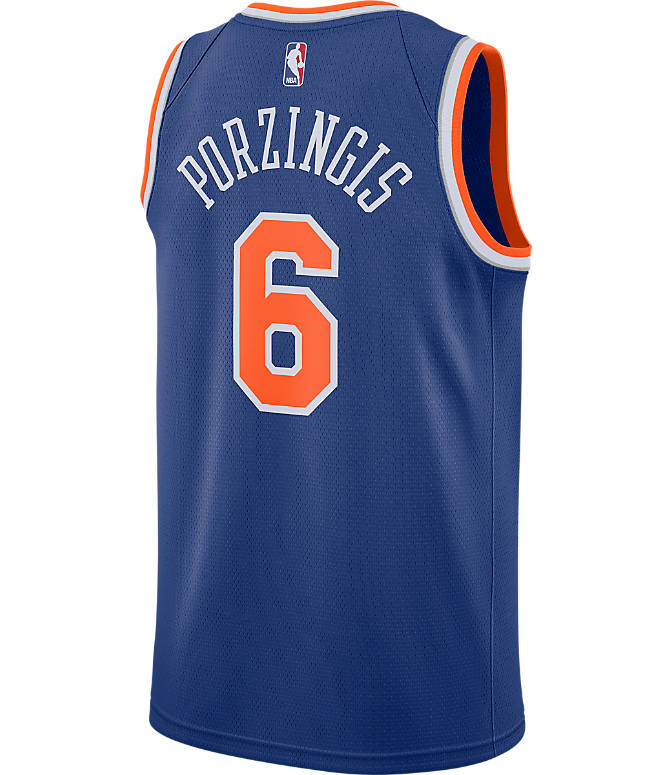 Front view of Men's Nike New York Knicks NBA Kristaps Porzingis Icon Edition Connected Jersey in Rush Blue