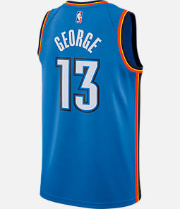 Men's Nike Oklahoma City Thunder NBA Paul George Icon Edition Connected Jersey