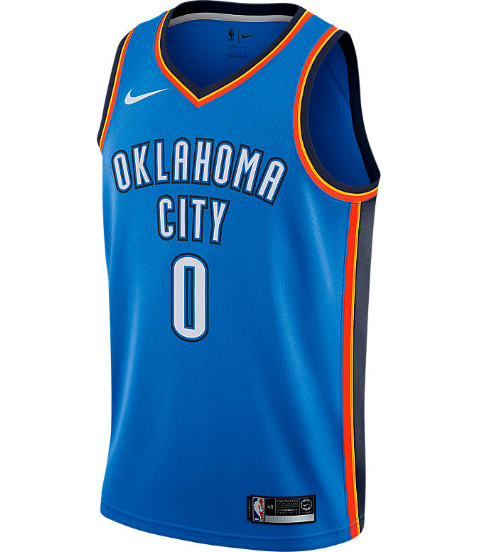 Back view of Men's Nike Oklahoma City Thunder NBA Russell Westbrook Icon Edition Connected Jersey in Signal Blue/College Navy