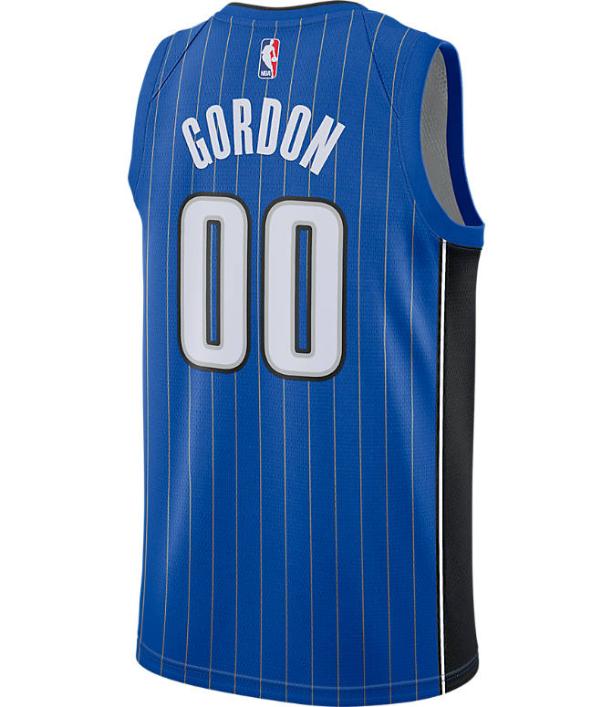 Front view of Men's Nike Orlando Magic NBA Aaron Gordon Icon Edition Connected Jersey in Game Royal/Black/White