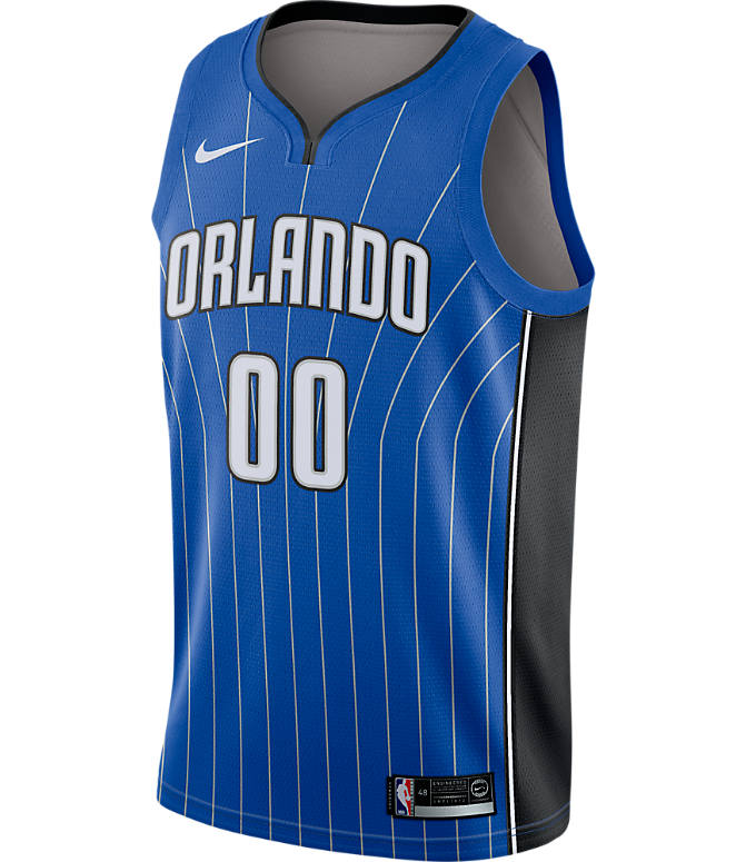 Back view of Men's Nike Orlando Magic NBA Aaron Gordon Icon Edition Connected Jersey in Game Royal/Black/White