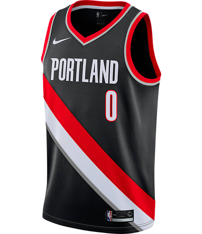 Back view of Men's Nike Portland Trail Blazers NBA Damian Lillard Icon Edition Connected Jersey in Black