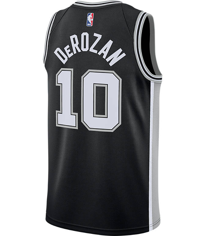 Front view of Men's Nike San Antonio Spurs NBA DeMar DeRozan Icon Edition Connected Jersey in Team Colors
