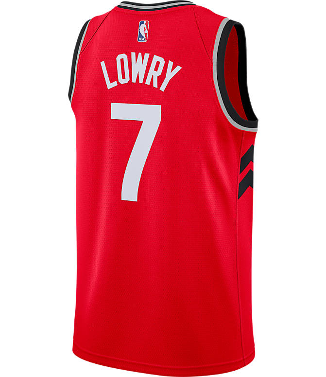 Front view of Men's Nike Toronto Raptors NBA Kyle Lowry Icon Edition Connected Jersey in University Red/Black