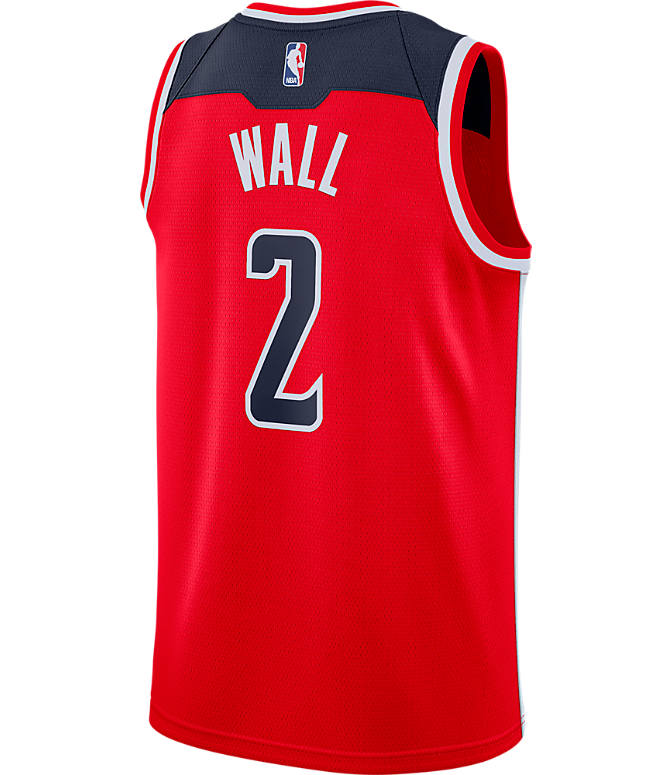 Front view of Men's Nike Washington Wizards NBA John Wall Icon Edition Connected Jersey in University Red/College Navy