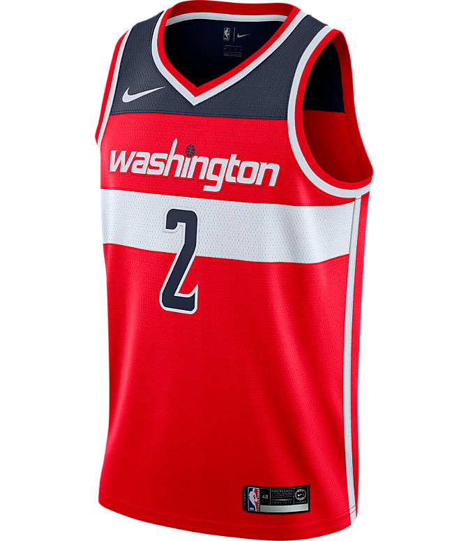 Back view of Men's Nike Washington Wizards NBA John Wall Icon Edition Connected Jersey in University Red/College Navy