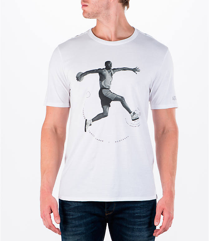 Front view of Men's Air Jordan 5 Dunk T-Shirt in White