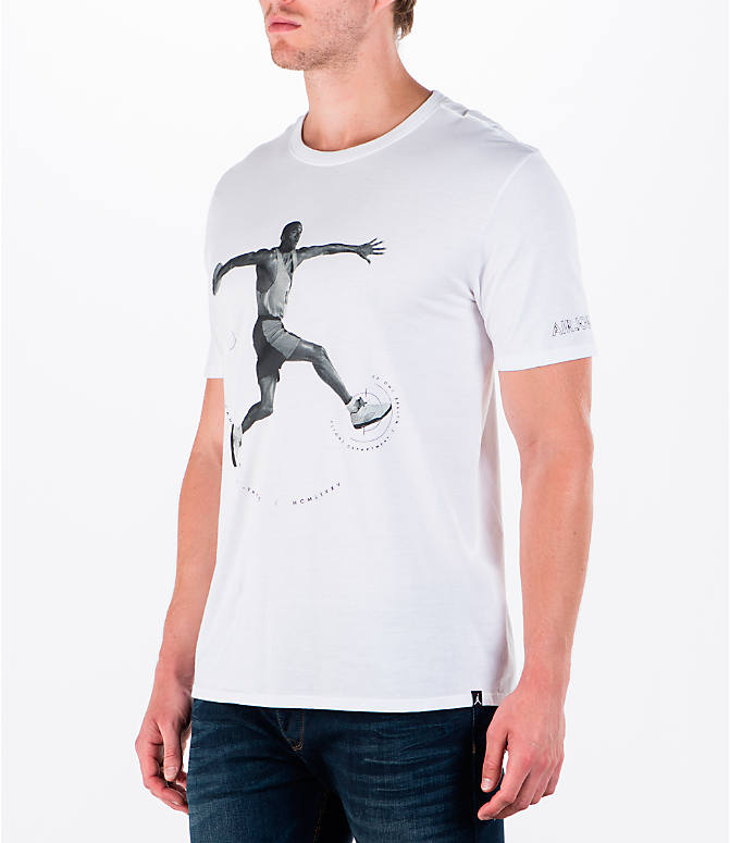 Front Three Quarter view of Men's Air Jordan 5 Dunk T-Shirt in White