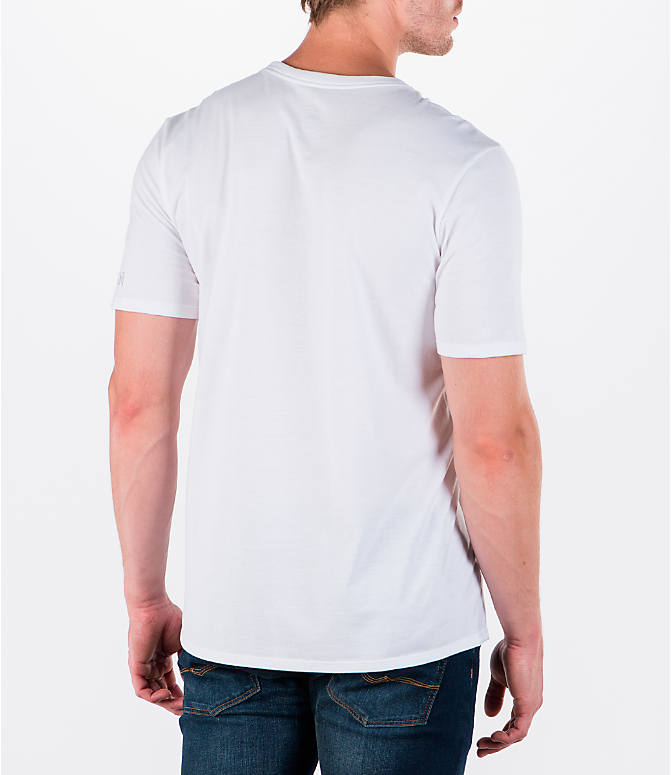 Back Right view of Men's Air Jordan 5 Dunk T-Shirt in White