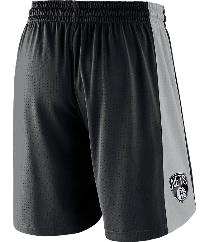 Front view of Men's Nike Brooklyn Nets NBA Practice Shorts in Black/Silver