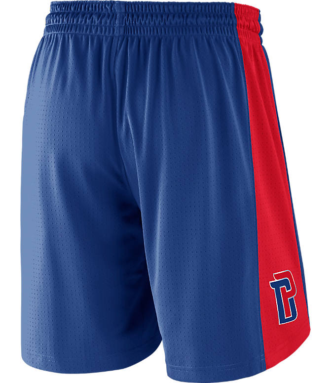 Front view of Men's Nike Detroit Pistons NBA Practice Shorts in Rush Blue/University Red
