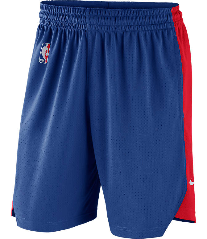 Back view of Men's Nike Detroit Pistons NBA Practice Shorts in Rush Blue/University Red