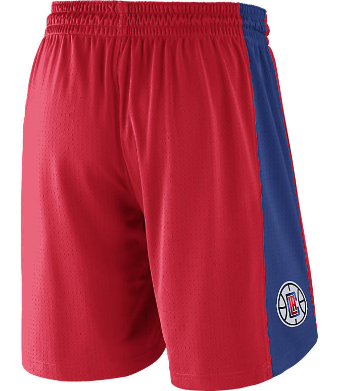 Front view of Men's Nike Los Angeles Clippers NBA Practice Shorts in University Red/Rush Blue