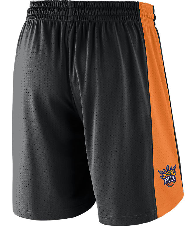 Front view of Men's Nike Phoenix Suns NBA Practice Shorts in Black/Clay Orange