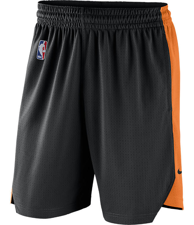 Back view of Men's Nike Phoenix Suns NBA Practice Shorts in Black/Clay Orange