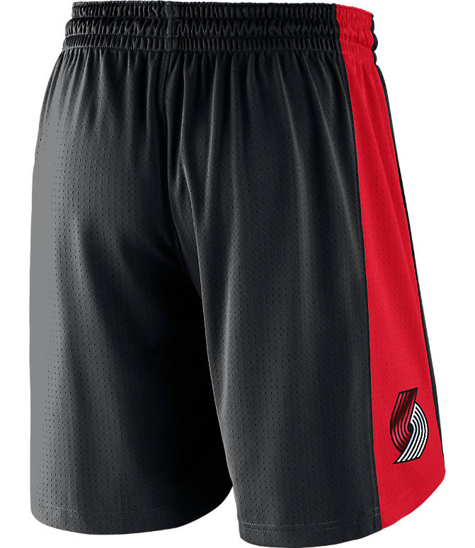Front view of Men's Nike Portland Trail Blazers NBA Practice Shorts in Black/University Red