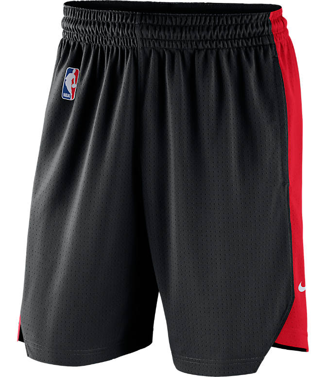 Back view of Men's Nike Portland Trail Blazers NBA Practice Shorts in Black/University Red