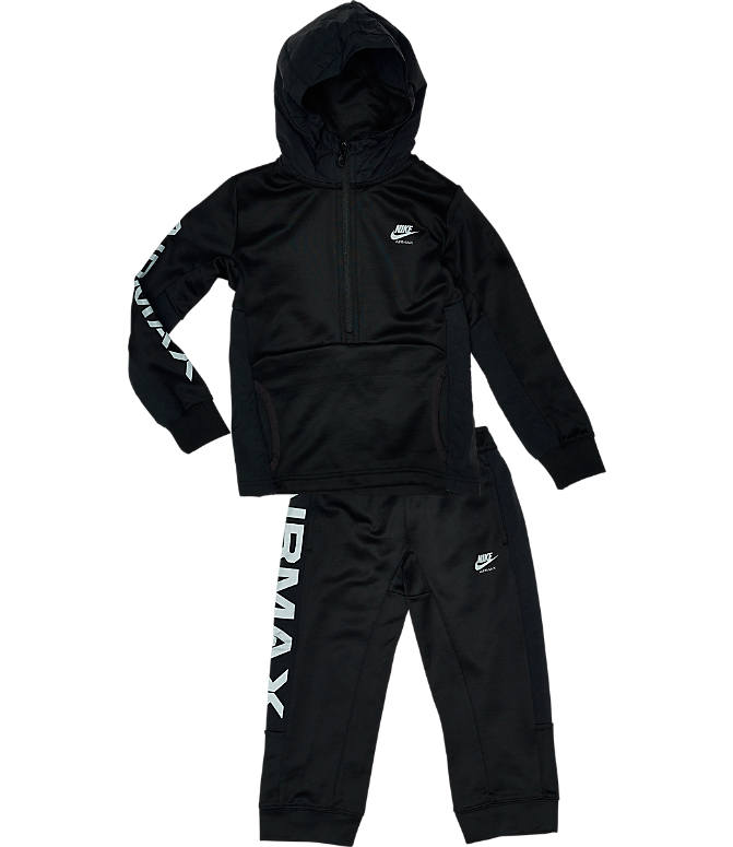 Front view of Kids' Nike Air Max Half-Zip Poly Track Suit in Black