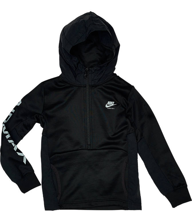 Back view of Kids' Nike Air Max Half-Zip Poly Track Suit in Black