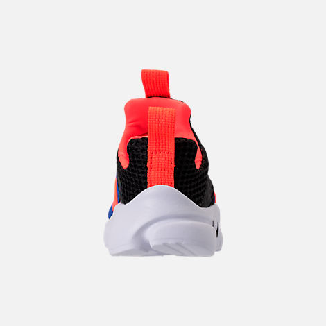 Back view of Boys' Toddler Nike Presto Extreme Running Shoes in Black/Racer Blue/Total Crimson