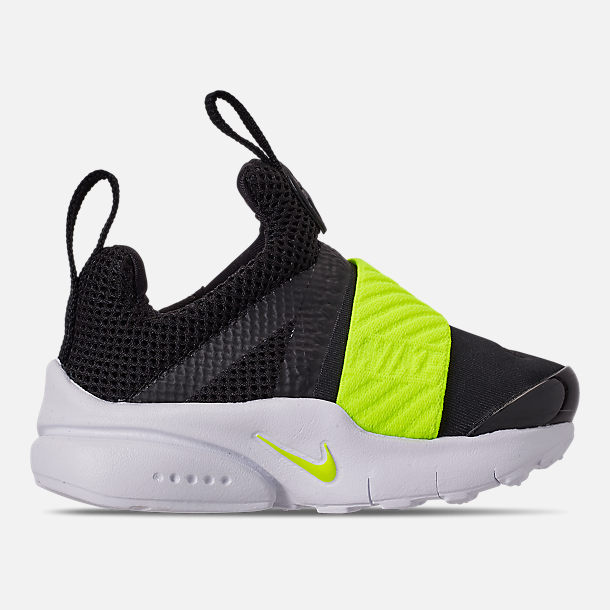 Right view of Boys' Toddler Nike Presto Extreme Casual Shoes in Black/Volt Black/White