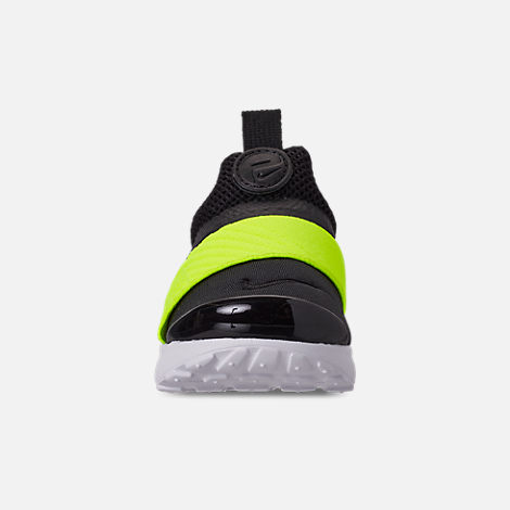 Front view of Boys' Toddler Nike Presto Extreme Casual Shoes in Black/Volt Black/White