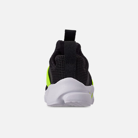 Back view of Boys' Toddler Nike Presto Extreme Casual Shoes in Black/Volt Black/White