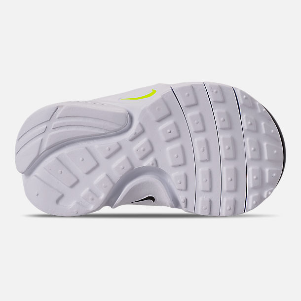 Bottom view of Boys' Toddler Nike Presto Extreme Casual Shoes in Black/Volt Black/White