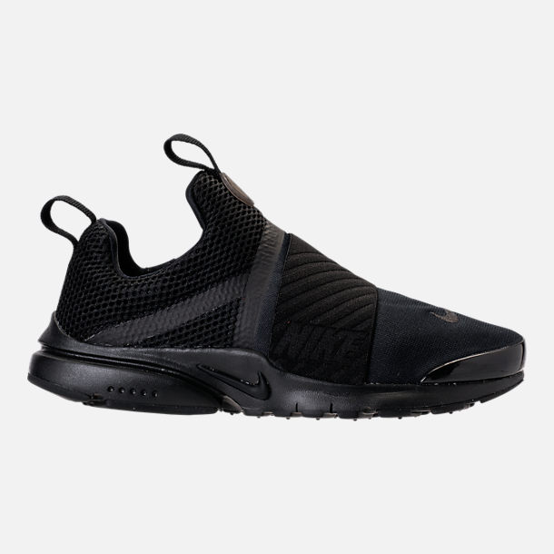 Right view of Boys' Grade School Nike Presto Extreme Running Shoes in Black/Black/Black