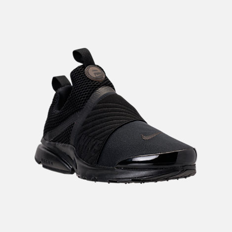 Three Quarter view of Boys' Grade School Nike Presto Extreme Running Shoes in Black/Black/Black