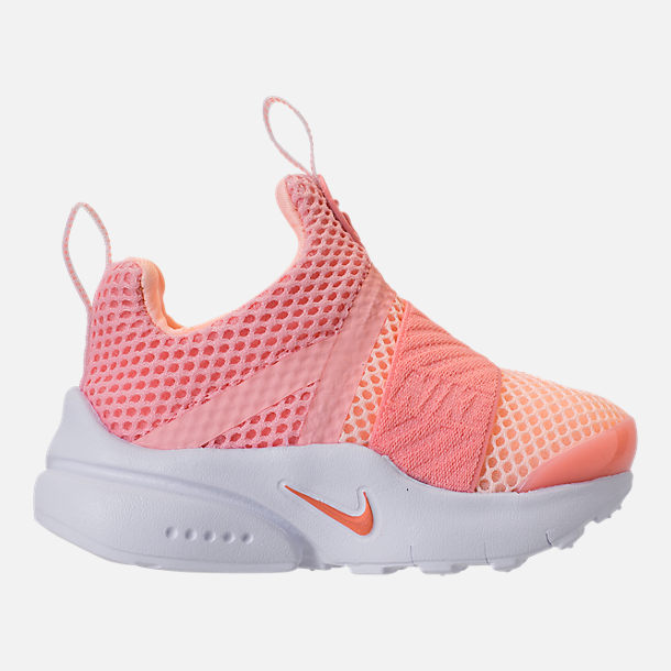 Right view of Girls' Toddler Nike Presto Extreme Running Shoes in Bleached Coral/Crimson