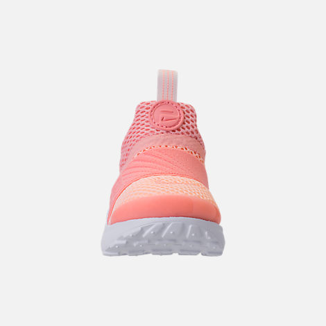 Front view of Girls' Toddler Nike Presto Extreme Running Shoes in Bleached Coral/Crimson