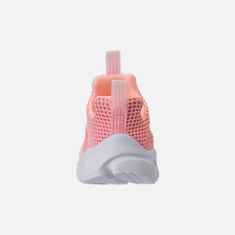 Back view of Girls' Toddler Nike Presto Extreme Running Shoes in Bleached Coral/Crimson