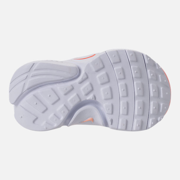 Bottom view of Girls' Toddler Nike Presto Extreme Running Shoes in Bleached Coral/Crimson