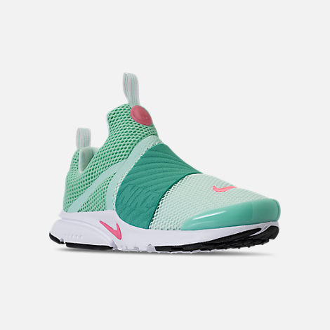 Three Quarter view of Girls' Big Kids' Nike Presto Extreme Running Shoes in Emerald Rise/Igloo