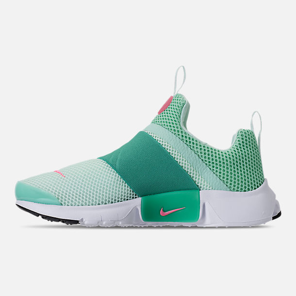Left view of Girls' Big Kids' Nike Presto Extreme Running Shoes in Emerald Rise/Igloo