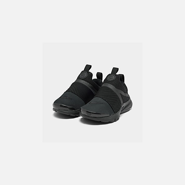 Three Quarter view of Little Kids' Nike Presto Extreme Casual Shoes in Black/Black/Black