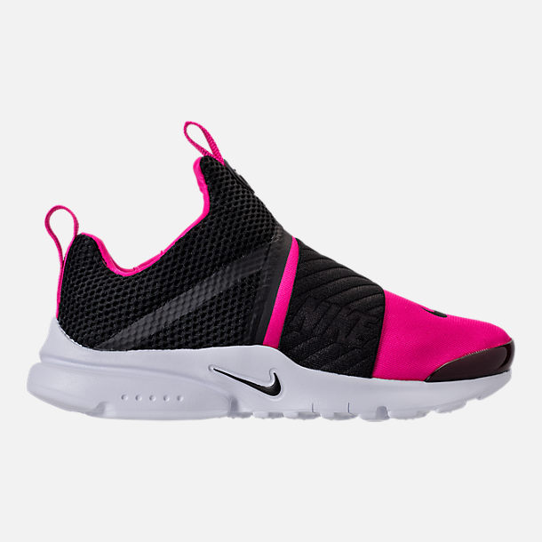 Right view of Girls' Preschool Nike Presto Extreme Running Shoes in Black/Pink Prime/White